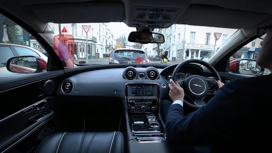 Jaguar front panel innovations, панель керування Ягуар  , зображення на склі