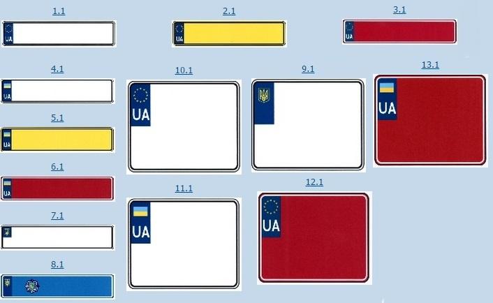 Номерні знаки, європейський тип, Україна