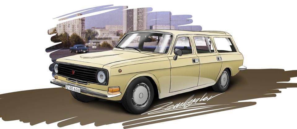 TMTmodels, майстерня, ГАЗ-24-12 універсал, малюнок художника