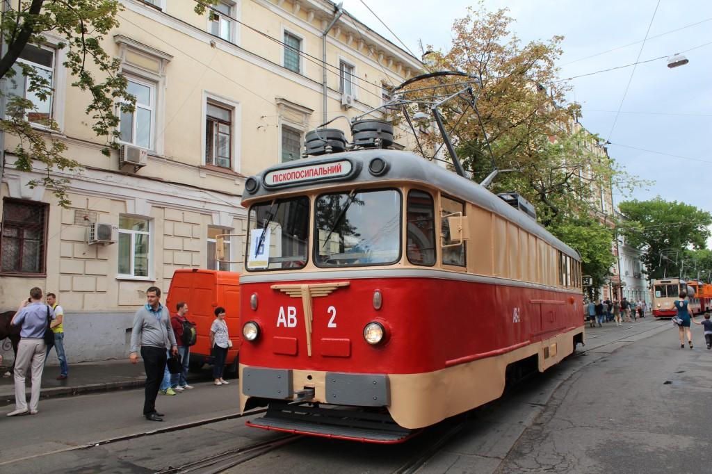 Parad trams 125 years Kyiv, АВ-2, КТВ-57 піскопосипальний, парад трамваїв