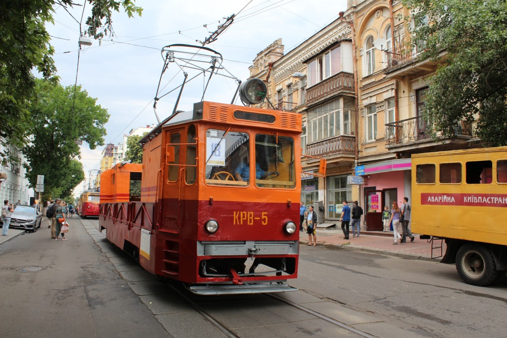 Parad trams 125 years Kyiv, колієремонтний трамвайний вагон КРВ-5, парад трамваїв