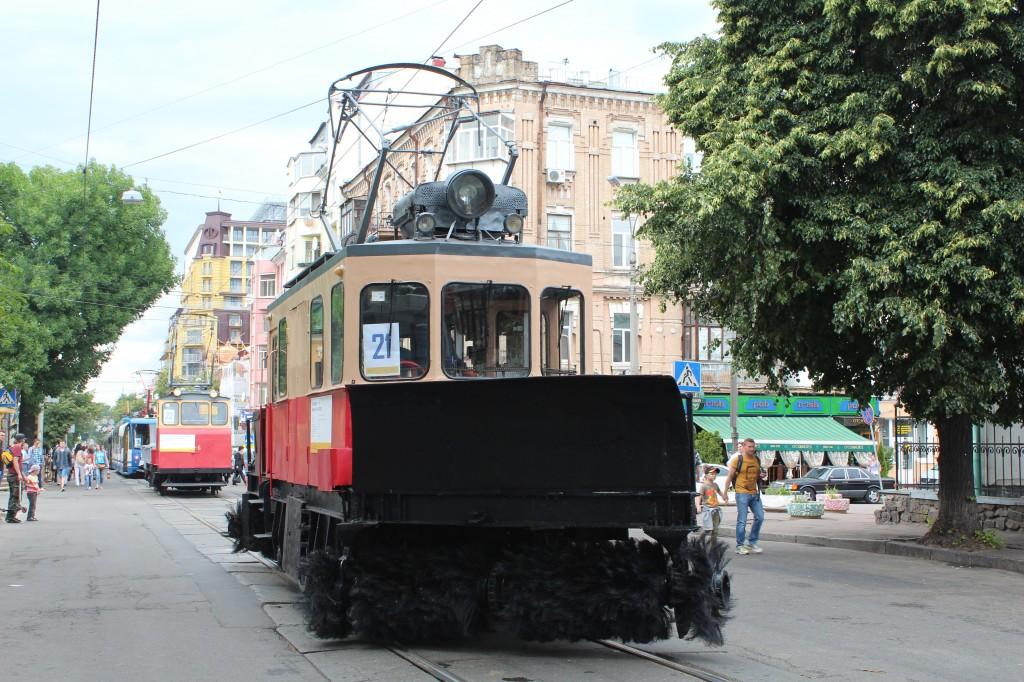 Parad-trams-125-years-Kyiv-снігочист-С-5-на-базі-ГС-4-ГВРЗ, парад трамваїв